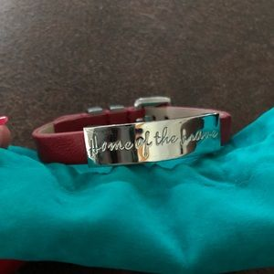 """Rustic Cuff """"Home of the Brave"""" leather bracelet"""
